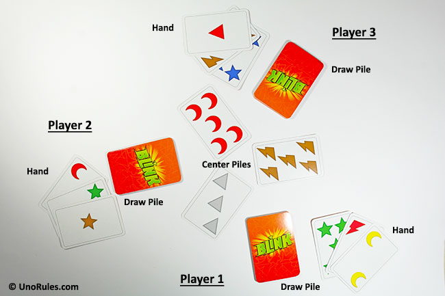 blink card layout for 3 players